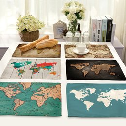 Panno del mondo online-Tovaglioli da tavolo stampati sulla mappa del mondo di moda 42 * 32cm per la tovaglia da festa in poliestere da cucina in poliestere