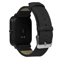 Lederarmband xiaomi online-Retro Ersatz-Armband Lederarmband für Xiaomi / Huami / Amazfit / Bip / Jugend beobachten Fitness Tracker Aktivität Tracker frei Schiff