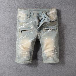 gli uomini s jeans stile bicchierini Sconti Nuovi pantaloni openwork da uomo in stile italiano afflitti bianchi abbinati a jeans skinny denim slim shorts 28-40 1813