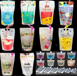 Bolsa de plástico fosco on-line-Saco bebendo Ziplock frio Saco bebendo geado com saco bebendo plástico Stand-up da palha 18oz Fosco malotes sacos da bebida