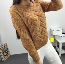 2019 suéter de mohair damas O-cuello de invierno Suéter de las mujeres Jersey Mujer Mohair Punto trenzado grueso cálido Lady 's Jersey 2019 College Jumper Mujeres Rosa Gris suéter de mohair damas baratos