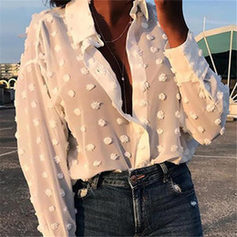 loose chemise Coupons - Womens Tops and Blouses Elegant Long Sleeve chemise femme Polka Dot Loose Shirt Ladies Chiffon Blouse Dames blusa feminina