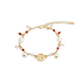 Pulsera de muñeca pulsera online-Pulsera de perlas para las mujeres niñas colgante de cadena de oro Sailor Moon Japón Europa EE. UU. Moda joyería de la pulsera impresionante brazalete