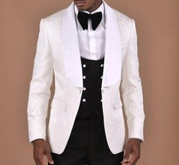 suit blazers pattern Promo Codes - White Pattern Wedding Mens Suit With Double Breasted Black Vest 3 pieces Groom Tuxedos Groomsmen Wear Wedding Blazer For Men TS1905