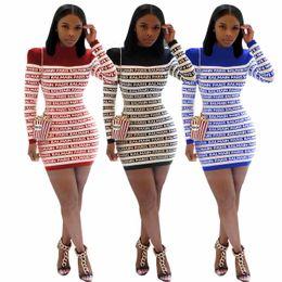 mulheres YZ1140 Europa e América transfronteiriça das explosões de moda outono costura carta de impressão e vestido de inverno de