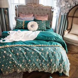 nähende 3d blumen Rabatt 4 Stück Prinzessin Mädchen Steppdecken umfasst 100% Baumwolle 60S Satin Bett gesetzt grüne Bettwäsche mit Spitzen Bettbezug 3d Blumen genäht