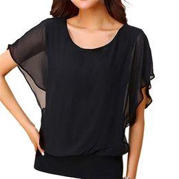 dd91083c16b6 New Womens Tops Fashion 2019 Women Summer Chiffon Blouse Plus Size Ruffle  Batwing Short Sleeve Casual Shirt Black White Red