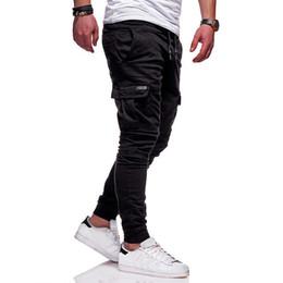 Модный галстук онлайн-Мужчины Новые боковые карманы Карандаш Брюки Бегуны Vogue Man Casaul Длинные брюки Брюки-карго с спортивной одеждой