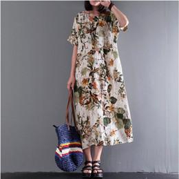 c7dfd062be 2019 BUYKUD verano vestido de mujer de manga corta con estampado floral  largo de algodón y lino vestido de mujer vestido maxi casual con bolsillos