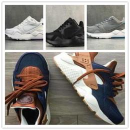 Zapatillas personalizadas online-35 Aniversario Nuevo Huarache ID Custom Breathe Running Shoes Hombre Mujer Azul marino Huaraches Denim Huarache Run Sneakers Calzado deportivo 5.5-11