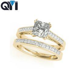 anillo de bodas único conjunto de oro Rebajas QYI 10k Juego de anillos Anillos de boda de compromiso con anillo de diamante simulado de oro amarillo Diseño exclusivo de corte cuadrado para mujeres