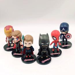 Ironman toy pvc online-Nueva picecs 6 / Lot 10cm Q Versión Vengadores Decoraciones juguetes de la muñeca Capitán América Ironman figuras de acción Superman Decoración Juguetes L134