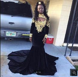 Mejor vestido largo de sirena negro online-2019 Vestido De Festa recién llegado de terciopelo negro sirena vestido de fiesta musulmán manga larga cuello alto apliques de encaje formal vestidos de baile más vendidos