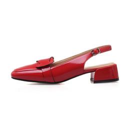 2019 zapatos de charol rojo tacón grueso Venta caliente-Meotina zapatos de tacón alto de las mujeres zapatos de charol Bow Chunky Heel Slingbacks Shoes Buckle Square Toe Ladies Pumps Red Big Size 33-43 zapatos de charol rojo tacón grueso baratos