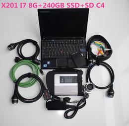Software de diagnóstico automotriz para laptops. online-Auto reparación herramienta de diagnóstico escáner automotriz MB Star C4 SD Compacto C4 + computadora portátil usada X201 I7 8G + nuevo SSD de 360GB el nuevo software V07.2019