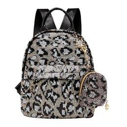 2019 кошельки с леопардовым блеском 2шт/набор блестки леопардовый клатч рюкзак женщины свободного покроя путешествие плечо школа сумки портмоне преппи путешествие школа мешок скидка кошельки с леопардовым блеском