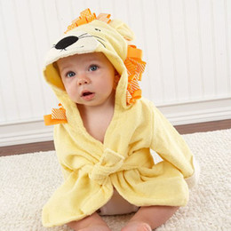infant bathrobe towels Coupons - Infant Baby Long Sleeve Hoodies Belt Bathing Robes Sleepwear Cute Boys Girls Animal Ears Bathrobe Hooded Bath Robes Towels VT1162