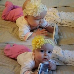 Individuelle blumen online-Kinder gestrickte Haarband Einfarbig Manuelle Chiffon Große Blume Schöne Stirnband Multi-color Optional Einzelne Paket 50