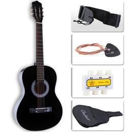 """Guitares débutant en Ligne-Guitare acoustique débutant de 38 """"avec étui, sangle et cordes en acier"""