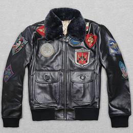 chaquetas de cuero para hombres Rebajas AVIREX verdadero cuello de piel de piel de vaca de vuelo hombres chaqueta chaqueta de bombardero genuino de los hombres abrigo de cuero de calidad superior de la motocicleta