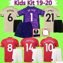 Kids Kit 2019 2020 United Soccer Jerseys Kinderanzug Torwart lila LINGARD POGBA LUKAKU RASHFORD 19 20 MAN UTD Jungen Trikots von Fabrikanten
