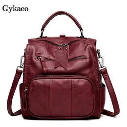 cf9e20cde coreano moda senhora mochila de couro Desconto GYKAEO Mulheres Coreanas  Mochila De Couro Moda Feminina Saco