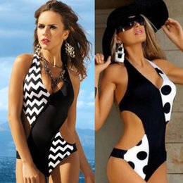 halter preto maiô sexy monokini Desconto New Dot Aceno One Piece Swimwear Mulheres Sexy Halter Bathing BlackWhite Push Up acolchoado cintura alta Monokini Swimsuit Beachwear