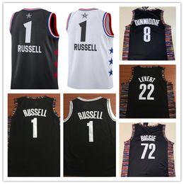 pullover swingman Sconti NCAA Uomo 2019 # 1 D'Angelo Russell Jersey 72 # Nero Biggie 8 # Spencer Dinwiddie 22 # Caris LeVert Swingman Maglie basket