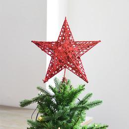 Rosa decorado arbol de navidad online-Christmas Tree Top Decorado Modelo de estrellas del hierro arte flash rosado de la estrella Decoración hueco 3 Tamaño 15cm / 20cm / 25cm de la decoración 1pcs Suministros