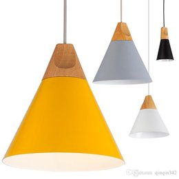 bedroom materials Promo Codes - Free shipping Home Dining Room Pendant Lamps Modern Colorful Restaurant Coffee Bedroom Pendant Lights Iron Real Wood Material