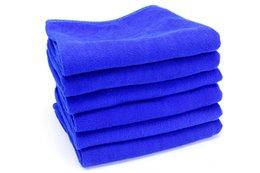 pennello d'onda all'ingrosso Sconti Asciugamano di pulizia in microfibra blu per il panno di lavaggio auto Quadrato di cura auto Asciugamani di detersivo per la cucina del bagno 30 * 30 cm, 30 * 70 cm