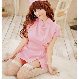 Heiße rosa strumpfbänder online-Neue heiße weiße rosafarbene Krankenschwester-Frauen reizvolles Kleid reizvolle Wäsche heißer Strumpfhut Cosplay-Kostüm-Uniform