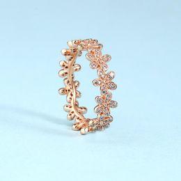Conjuntos de oro real online-NUEVO 18K Rose Gold CZ Diamond RING Set Caja original para Pandora Real 925 Flores de plata Moda Anillo de bodas de lujo para mujeres
