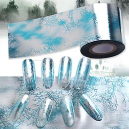 Nail art designs bleu blanc en Ligne-Marbre Style Bleu Holographique Ruban Flocon De Neige Feuille Ongles Blanc Neige Conception De Noël Nail Art Transfert Feuille transfert Autocollant