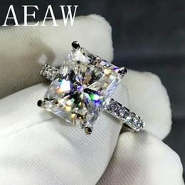 Vs diamantes on-line-Aeaw 4ct Radiant Corte Gh Moissanite Anel De Noivado Em 925 Prata Diamante Jóias Finas Para As Mulheres Vs F Gems S328
