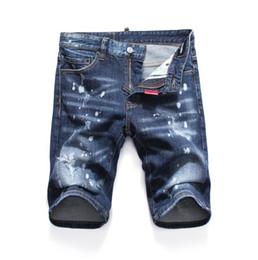 Moda de jeans rotos online-Nuevo 2019 Pantalones cortos de mezclilla para hombre Pantalones vaqueros Jeans Club nocturno azul Moda de algodón Pantalones de verano ajustados para hombre A8054 PHILIPP PLEIN DSQUARED2 DSQ2 D2