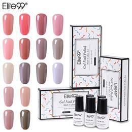 Uñas de gel de color nude online-Elite99 5 Unidades / juego Esmalte Naill de Gel de Color Desnudo Con Caja de Regalo 7ml Esmalte UV Semi Permanente Empapa para laca de uñas