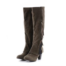 Bottes de chaussures de genou en Ligne-1 paire femmes bottes d'équitation chaussures d'hiver à talons hauts botas plier la cheville dentelle détaillant sur le côté fermeture à glissière au genou bottes femme