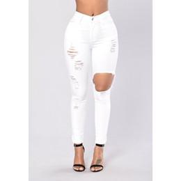 Weiße hohe taille zerrissene jeans online-Dünne weiße Jeans-Frau mit hohen Taille Frauen Jeans Denim Damen Elasitc Bleistift Jean Weiß Herbst langer Hosen Hose zerrissen