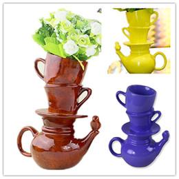 2019 vasi bianchi blu nozze Matrimonio Vaso da fiori vaso blu rosso bianco colore speciale Teiera Cup in una forma vaso di fiori vaso decorazioni moderne per la casa sconti vasi bianchi blu nozze