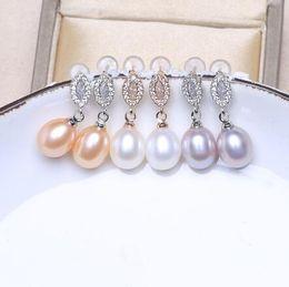 Pendientes de plata de ley 925 de Baroqueonly Pendientes de oro rosa Pendientes de gota de perlas naturales Pendientes de circón con incrustaciones de pendientes de swarovski EBG desde fabricantes
