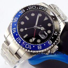 relógios de cristal cerâmicos pretos Desconto Cristal de safira BLIGER 43 MM Nologo Grande Mostrador dos homens Relógio GMT Função Azul Preto Cerâmica Bezel Relógio Automático Movimento