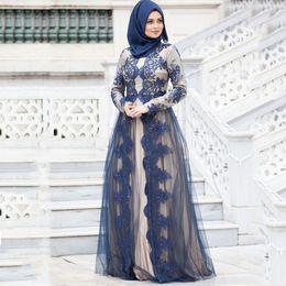 Vestidos de noche de las mujeres musulmanas modernas online-Encaje moderno mangas largas palabra de longitud vestidos de noche musulmanes 2019 mujeres vestidos formales joya cuello saudí estilo árabe vestidos de fiesta