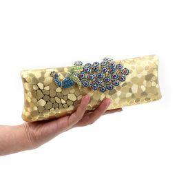 Fourre-tout en paillettes d'or en Ligne-Sac de soirée de haute qualité coloré paillettes PeacockDiamond Baguette Soirée Embrayages Femmes De Luxe Chaîne En Or Tote Bag