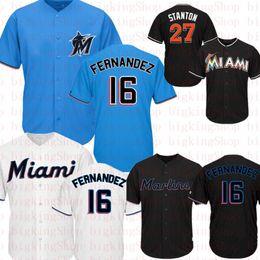 2019 giancarlo stanton jersey Marlins 16 Jose Fernandez Jersey Miami Marlin 27 Giancarlo Stanton Baseball Jerseys Céu azul preto branco bordado Logos 666 desconto giancarlo stanton jersey