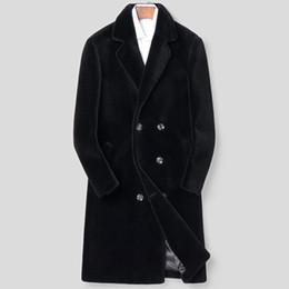 Schafwollkragen online-Büro Männer Winter Zweireiher 100% Wolle Jacke Business Slim Fit Flauschige Schafe Echtpelz Mitte Langen Mantel Revers Kragen Mantel