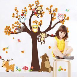 2019 monos Dibujos animados niños pegatinas de pared bosque animal búho mono ciervos árbol niños dormitorio decoración del hogar envío gratis rebajas monos