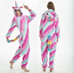 doraemon kostüme Rabatt Einhorn-Maskottchen-Set Damen Flanell Tier Pyjama Set Winter warm One Piece Pyjamas, Unicorn One Piece, Kleidung