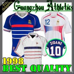 camisa branca do futebol de france Desconto 1998 FRANÇA RETRO VINTAGE ZIDANE HENRY MAILLOT DE FOOT camisas de futebol uniformes Camisas De Futebol camisa branco longe finais 2006 branco