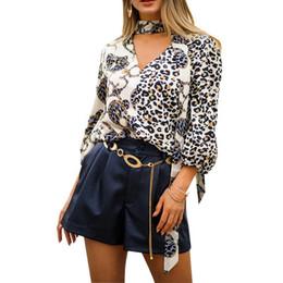 Elegante keychain on-line-Blusas Elegantes das mulheres Padrão de Leopardo Chaveiro Impressão 3/4 Blusas de Manga Mulher Tops Femininos